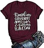 Pumpkins Hayrides Apple Cider and Falling Leaves T-Shirt Women's Fall Short Sleeve Blouse Tops Size XL (Red)