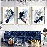 Moderno abstracto azul Splash tinta dibujo cepillado textil lienzo pintura cartel impresión pared arte imagen para sala de estar decoración del hogar