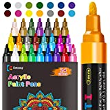 Acrylic Paint Pens, Emooqi Set of 24 Colors Paint Markers Pens for Rocks, Craft, Ceramic, Glass, Wood, Fabric, Canvas -Art Crafting Supplies