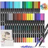 Rotuladores Acuarelables 40 Colores Rotuladores Lettering Punta Pincel, Doble Punta Fina con Libro de Dibujo para Graffiti, Caligrafía, Dibujo, Lettering para Niños y Adultos