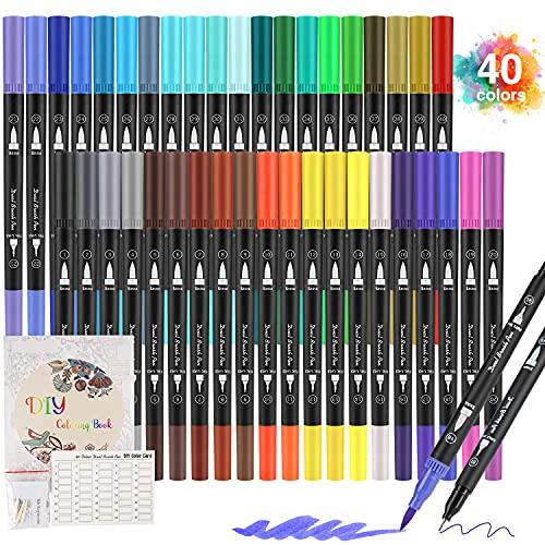 Rotuladores Lettering Profesionales de 40 Colores, Pincel Doble Punta con Libro de Dibujo, Rotuladores Acuarelables para Graffiti, Caligrafía, Dibujo, Lettering para Niños y Adultos