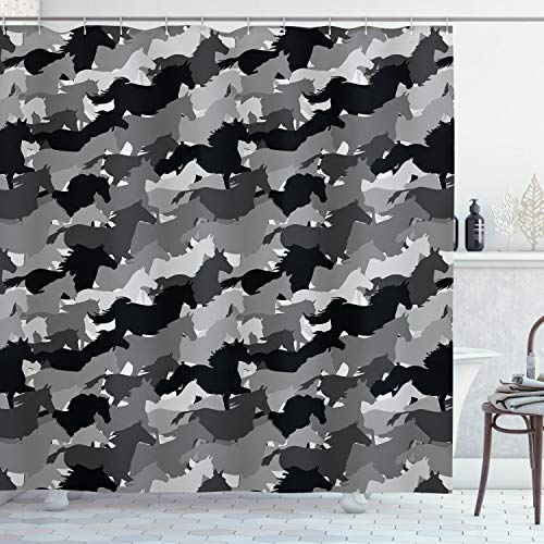 Ambesonne Horses Shower Curtain, Mustang Herd Galloping Together Animal Silhouettes Wildlife Abstract, Cloth Fabric Bathroom Decor Set with Hooks, 75' Long, Charcoal Silver