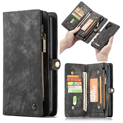 HülleMe Leder Galaxy Note 10 Pro hülle, magnetisch Flip Folio Lederhülle Wallet Handyhülle für Samsung Galaxy Note 10 Plus Ständer Cover, 13 x Kreditkarte Slots, 2 in 1 zurück hülle (Note 10+,Schwarz)