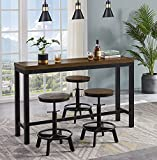 Ehomexpert Industrial 4-Piece Dining Room Table and Bar Stools, Bar Pub Table Set, Vintage 59.5' Counter Height Bar Table with 3 Adjustable Bar Stools for Kitchen and Restaurant, Rustic Brown