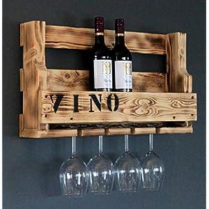 Weinregal aus Holz für die Wand – mit Gläserhalter und VINO Schriftzug – Geflammt – fertig montiert – Regal für…