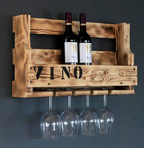 Weinregal aus Holz für die Wand - mit Gläserhalter und VINO Schriftzug - Braun (geflammt) - fertig montiert - Regal für Weinflaschen und Weingläser
