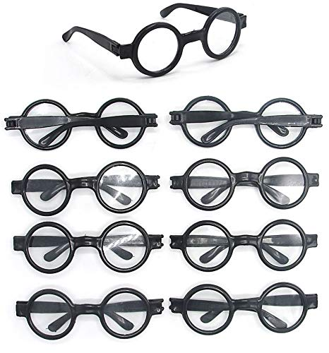 Dazzling Toys Wizard Glasses Round Frame - Great Accessory for Wizard – Halloween - Birthday Party, Posing Props Costume Supplies - 8 Pack