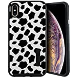 CasesOnDeck Case Compatible with [Apple iPhone XR | iPhone 10R 6.1'] iPhone XR Case, [Tactical Grip] Dual Layer Hybrid Case Shock Protection Enhanced Grip Rubberized Exterior (Cow Print)