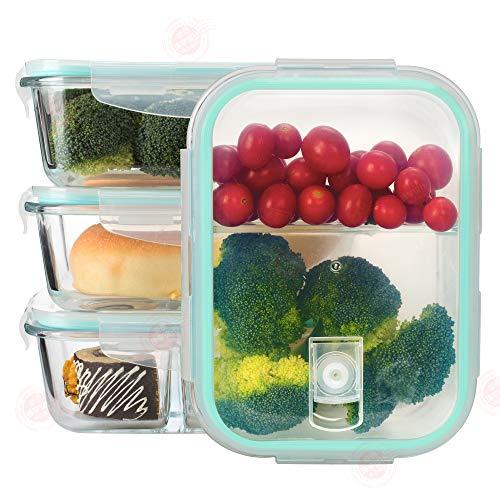 Erlliyeu Frischhaltedosen aus Glas mit Deckel (3 Stück - 1040ml) Mikrowellen-,6 Teile (3 Behälter mit 3 verschließbaren Deckeln), ofen- u gefrierschrankgeeignet, spülmaschinenfest