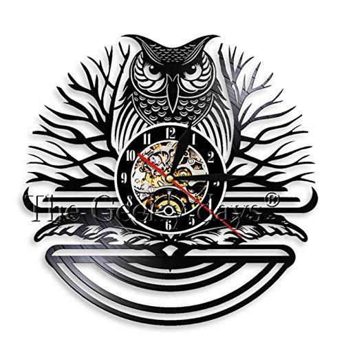 LiHiFG Nachteule Vögel Vintage Vinyl Schallplatte Wanduhr Handgefertigt EIN Vogel von Minerva Tiere Home Wandkunst Raum 3D Quarz Dekor Uhr