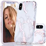 BAISRKE Shiny Rose Gold Marble Design Clear Bumper Matte TPU Soft Rubber Silicone Cover Phone Case Compatible with iPhone X iPhone Xs 5.8 inch - White