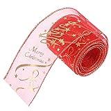 due-home Wired Christmas Holiday Ribbon impresión Glitter Ribbon Swirl Wired Sheer Xmas Tree decoración Band para el cabello arcos Gift Wrapping artesanía DIY 200x 6.3cm