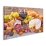 Bild Bilder auf Leinwand Wein Käse Wurst und Brot Wandbild