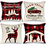 AENEY Buffalo Plaid Christmas Pillow Covers 18x18 Set of 4 Christmas Pillows Xmas Winter Holiday Throw Pillows Deer Farmhouse Christmas Decor Red Truck Christmas Decorations for Couch A265