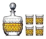 Carafe Whisk Verre à Whiskey Globe Decanter Set 5 pièces whisky Decanter verres Set 100% Verre Cristal verres à vin sans plomb avec couvercle en verre bouteille de vin 850ml rapide dégriser for papa A