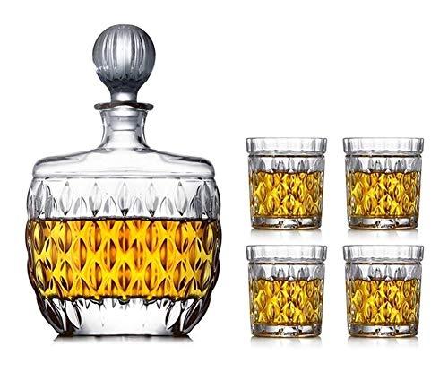 GAOTTINGSD Botellero 5 Piezas de Whisky Decanter Vasos, Decorado con 100% sin Plomo Botella Cristal Copas de Vino con el Vidrio de la Cubierta 850 ml de Vino Fast Sobrio for el papá Amigos
