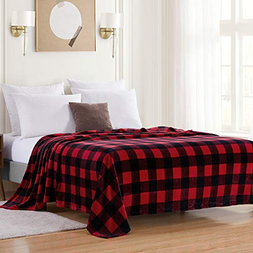 Sweet Home Collection Buffalo Plaid Blanket Fleece Soft and Plush Fuzzy Cozy Microfiber Cover for Bed and Couch, King, Burgundy/Black