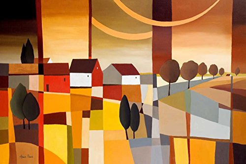 Feeling at home Kunstdruck-auf-GEROLLTE-LEINWAND-cm_87_X_131-Paus-Hans-moderne-landscap-Design-n-europäisch-Bild-auf-LEINWAND-380gr-100%-Baumwolle
