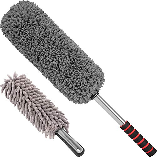 Relentless Drive Car Duster Kit – Microfiber Car Brush Duster Exterior and Interior, Car Detail Brush, Lint and Scratch Free, Duster for Car, Truck, SUV, RV and Motorcycle