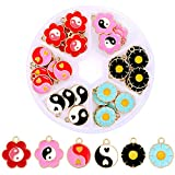 72pcs Charms for Jewelry Making Enamel Daisy Flower Charms Yin Yang Pendant Beads for Colorful Diy Charms Jewelry Making Earrings Bracelets Necklace (Gold 2)