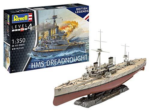Revell- HMS Dreadnought Maqueta Fiel al Original para avanzados, Color Plateado (05171)