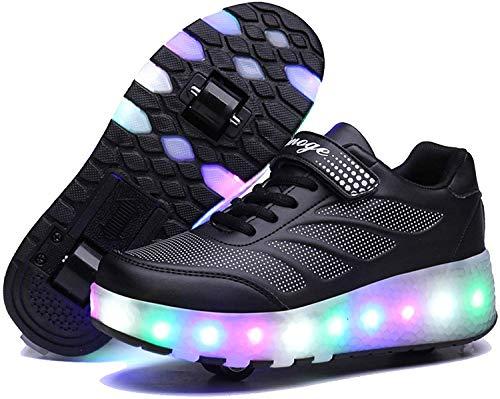 BDFA Kinder-Jungen-Mädchen-LED-Rollen-Skate-Schuhe Doppel Räder Flashing Luminous Schlittschuhe Outdoor Sports Crosstrainer,Schwarz,39
