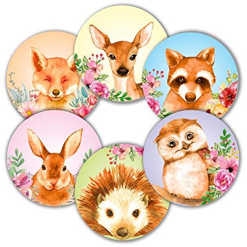 Woodland Animals Aufkleber für Siegel, 5 cm, rund, Wald, Dschungel, Safari, für Babypartys, Dekorationen, Karten, Geschenk-Umschläge, Boxen