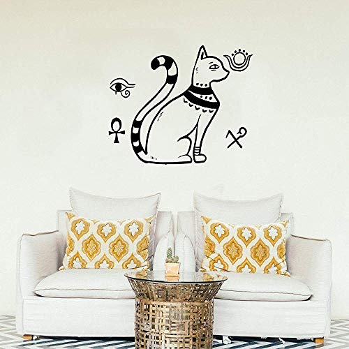 Wanddekoration Im Ägyptischen Stil Mit Nationalen Symbolen Wohnkultur Wohnzimmer Ägyptischer Katzengott Wandaufkleber36X69Cm
