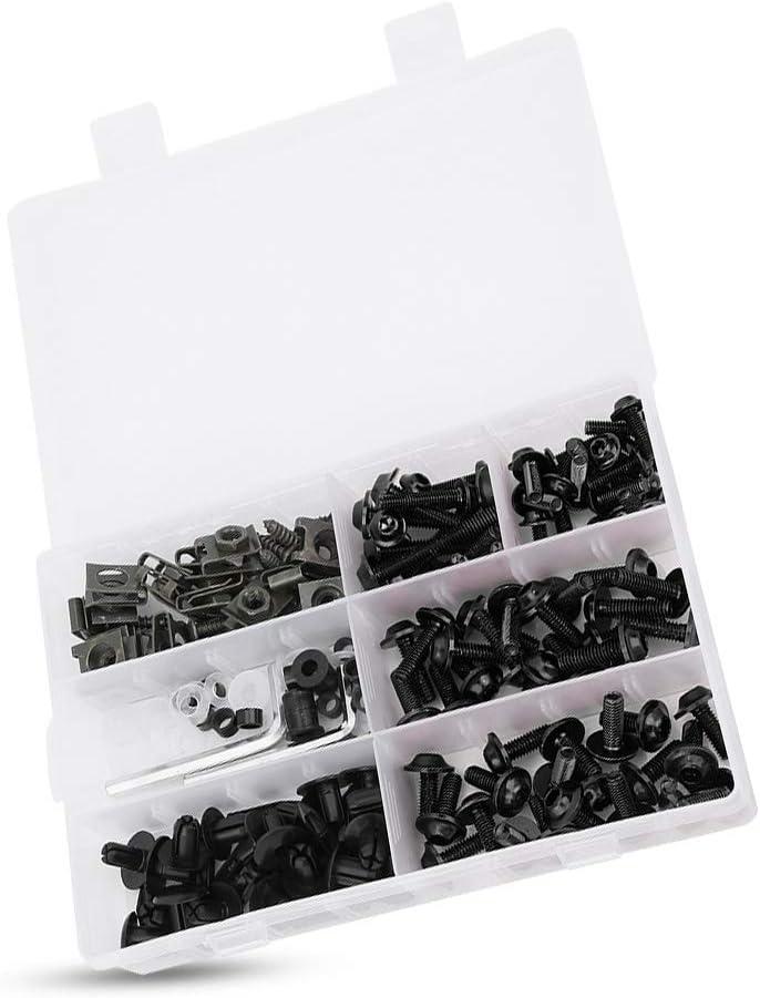 Negro Kit de pernos de carenado 198Pcs//Set Tornillos de carenado de parabrisas Kit de pernos M5 M6 Accesorio de motocicleta