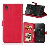 Funda Sony Xperia L1 G3311,Bookstyle 3 Card Slot PU Cuero Cartera para TPU Silicone Case Cover-Rojo
