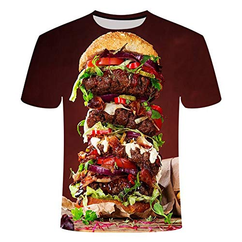 HHKLSF Tshirt Herren Lustig 3D Print Oberteile Hemd Männer Lässige Kurzarm T-Shirts Round Hals Hemden Tops 3D Gourmet Print T-Shirt, 3, M.
