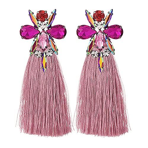 XAOQW Elegantes Pendientes de Cristal Gem Resin Pendientes para Mujeres Estilo Bohemio Fiesta de la Personalidad Joyería Regalo para Mujeres niñas Damas Adolescentes Niños Regalo-Cuero Rosa Rojo