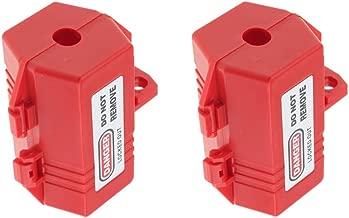 2 Pcs Red Plug Lockout Box, Fits Most Plugs, Plastic, 0.7 inch Cord Diameter, Safe