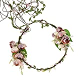 Diadema de corona de flores de rosa para mujeres de boda nupcial corona floral halo tocado novia accesorios para el cabello
