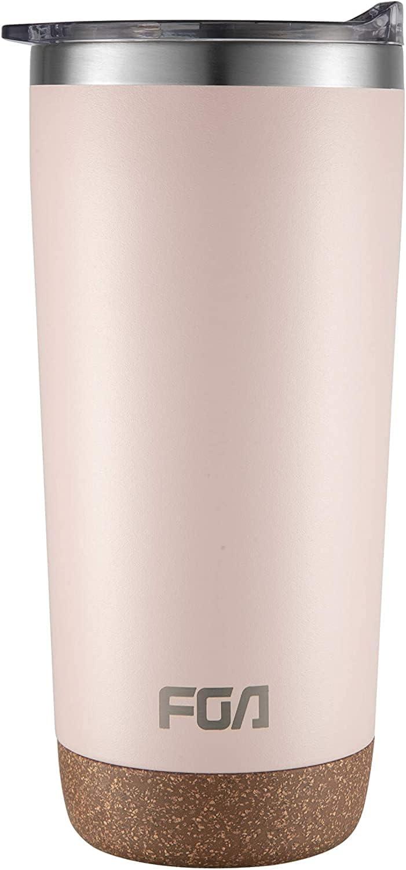 FGA Taza de café de acero inoxidable, resistente al polvo, con tapa, 600 ml, sin BPA, para bebidas calientes y frías, color rosa
