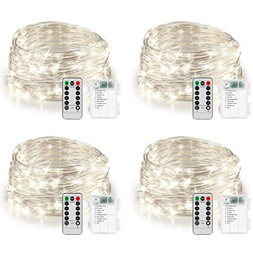 Koxly 4 Pack 20ft 60 Led Fairy Lights with Remote Timer Waterproof Christmas Decor Battery Operated Twinkle Firefly Lights for Bedroom, Garden, Easter, Party, Christmas Indoor and Outdoor Decorations