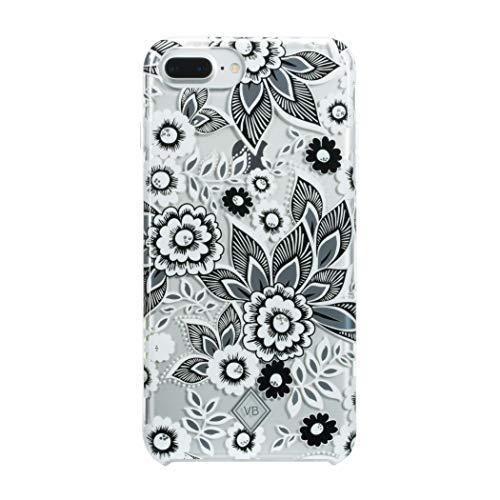 Vera Bradley Flexible Frame Case for iPhone 8 Plus, iPhone 7 Plus & iPhone 6 Plus/6s Plus - Snow Lotus Black/White/Silver/Clear Gems - VBIPH-009-SLBSG-VB