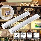 JANDEI - 2X Regleta LED, 36W 120cm, Luz Neutra 4000K,...