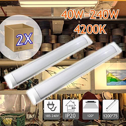 JANDEI - 2X Regleta LED, 36W 120cm, Luz Neutra 4000K, Protección IP20 Para Interior, Equivalente A 2 Tubos Fluorescentes 3600 Lúmenes