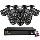 Anlapus 5MP Sistema de Cámara de Vigilancia PoE Exterior 8CH H.265+ Video Grabador NVR PoE con (4) Cámara Bullet (4) Cámara Domo, Visión Nocturna IR, Alerta de Movimiento, 2TB Disco Duro