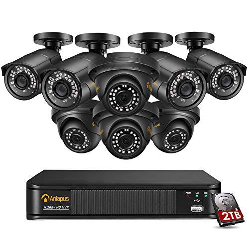 Anlapus 8CH 5MP Kit Videosorveglianza IP PoE, 8CH h.265+ PoE NVR e 8x Telecamera PoE Esterno, Sistema di Sorveglianza con HDD da 2TB, Registrazione 24 7, Rilevamento del Movimento, Accesso Remoto