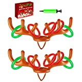Hapdoop 2-4 Players Inflatable Reindeer Antler Ring Toss Game for Christmas Party - Game Rules Included (2 Antlers 10 Rings)