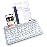 Bluetooth Wireless Keyboard, Multi-Device Portable Keyboard with USB Rechargeable and Integrated Stand Phone Holder, Wireless Keyboard for ipad, Compatible with iOS, Android, Windows System.