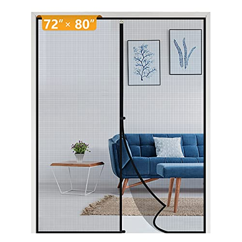 Yotache Magnetic Screen Door Fits Door Size 72 x 80, Strengthened French and Patio Door Screen Curtain Fit Doors Size Up to 72'W x 80'H Max Keep Fly Bug Out