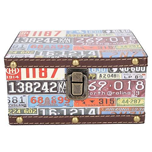 Kudoo Caja de Almacenamiento de Madera, Caja del Tesoro Vintage Cajas Decorativas para Almacenar, Joyero de Madera, 16x16x8cm