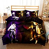 Jacrarr Naruto Comforter Bed Set 3D Anime Naruto Duvet Cover Bedding Set for King Size Bed Soft Lightweight Microfiber 1 Duvet Cover 2 Pillowcases NO Comforter