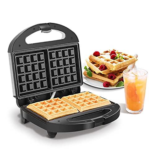 Aigostar Neil - Piastra per Waffle a 2 fette da 800W. Macchina per waffle elettrica antiaderente, in acciaio inox. Manico a tocco freddo e piedini antiscivolo