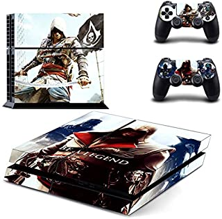 Ambur® Protective Vinyl Skin Decal Cover for Sony PlayStation 4 PS4 Console & Remote DualShock 4 Controller Sticker Skins --- assassins creed be a legend