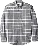 Amazon Essentials - Camisa Oxford a cuadros de manga larga con bolsillo para hombre, Gris (Grey Windowpane Gre), US S (EU S)