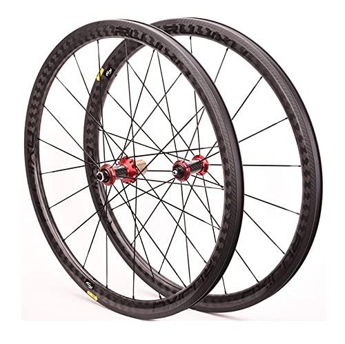 XCZZYC Juego de Ruedas de Bicicleta de Carretera de Fibra de Carbono 700C Cojinete de cerámica V Freno Rueda de Bicicleta Delantera Trasera 8 9 10 11 Velocidades Radios de liberación rápida 2: 1 (C